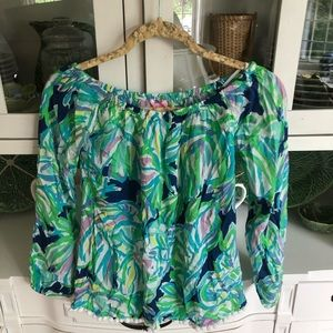 NWT Lilly Pulitzer Enna XS Pom Pom top blouse